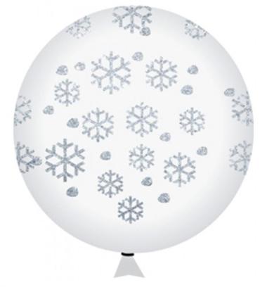 Imagens de Balão Gigante Incolor com Flocos Brancos