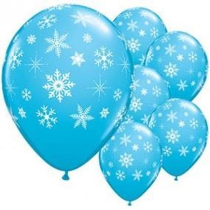 Imagens de Balão Azul Claro Metálico c/ Flocos Brancos