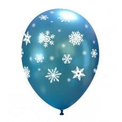 Imagens de Balão Azul Metálico c/ Flocos Brancos