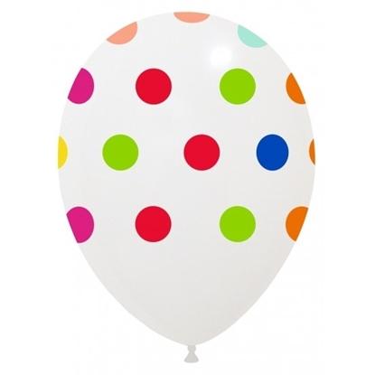 Imagens de Balão 13PL Branco  c/ Pintas Coloridas