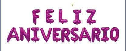 """Imagens de Conjunto Letras """" Feliz Aniversário """" Rosa"""
