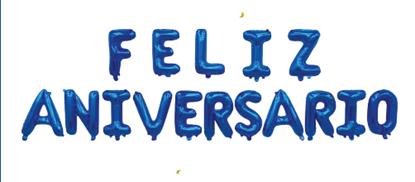 """Imagens de Conjunto Letras """" Feliz Aniversário """" Azul"""